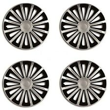"13"" PEUGEOT ALL MODELS BLACK & SILVER WHEEL TRIMS SET OF 4 HUB CAPS WHEEL COVER"