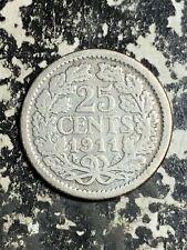 1911 Netherlands 25 Cents Lot#L8038 Silver!