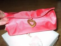 Yves Saint Laurent Parfums coral  heart cosmetic bag case clutch handbag travel