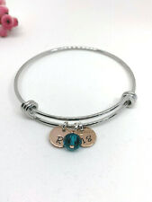 18th Birthday Personalised Bangle Bracelet Rose Gold Initial Birthstone Gift