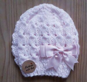 Pink/Newborn handgefertigter Doppel Strick Baby Mütze/0-3 BRANDNEU
