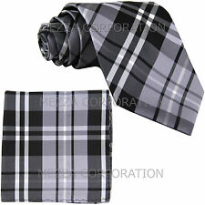 New Men's Vesuvio Napoli plaid checkered Neck Tie Necktie & hankie set gray