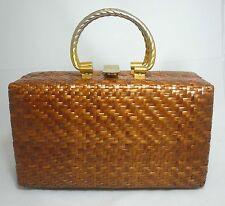 Vintage Koret 1960's Woven Wicker Box Basket Purse Bag - Natural + Brass Handles