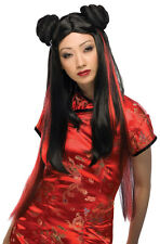 Long Adult Black And Red Ms. Chow Geisha Girl Samurai Wig Buns Chun-Li Chun Li
