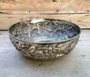 Antique Old Grapes Floral Carving German Silver Serving Pot Bowl