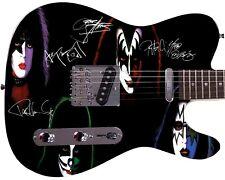 Kiss Autographed Neon Photo Guitar