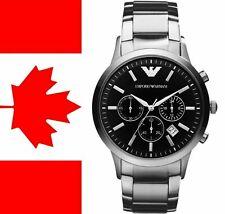 New Emporio Armani AR2434 Black Dial Classic Chronograph Silver Tone Men's Watch