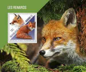 Guinea - 2021 Red Foxes on Stamps - Stamp Souvenir Sheet - GU210125b