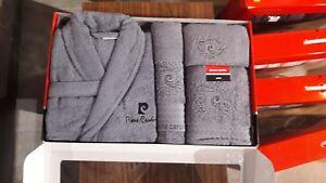 Pierre Cardin Luxury Designer 4 pcs Towel Bathrobe Set New Samoa 500 Grey