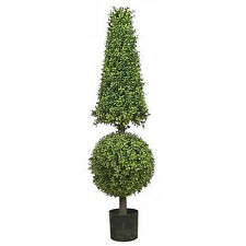 "50"" Artificial Boxwood Cone Ball Topiary UV Tree Outdoor 4' EVERGREEN POOL PATIO"