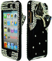 Black Diamond 3D Bling Bow Hard Case / Silver Cover for iPod Touch 4th 4G