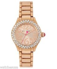 Betsey Johnson Women's Mini Rose Gold-Tone Crystals Accented Watch BJ00291-03