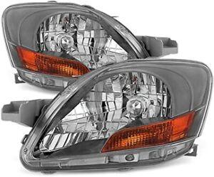 For 2007 2011 Toyota Yaris 4Dr Sedan Black Headlights Headlamps Left+Right 07-11