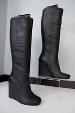 kurt geiger Kg NEW black Leather Wedge Boots Size 38 Uk 5 Rrp £190 Bnwob
