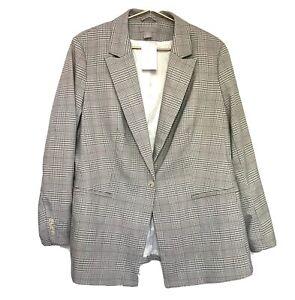 New H&M Plaid Blazer Size XL Beige Pockets One Button Lining NWT $49