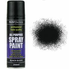 4 x Black Gloss Aerosol Spray Cans 250ml Car Auto Extreme Spray Paint