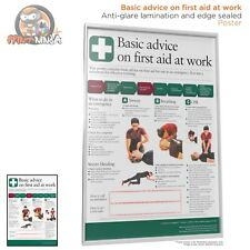 HSE Health and Safety Basic First Aid At Work AED Poster A2 A3 A4 Laminated