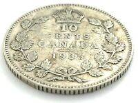 1936 Canada 10 Ten Cent Dime Circulated George V Canadian Coin L395