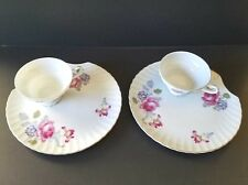UCAGCO Ceramics JAPAN Set of 2 Snack Fine China Plate with a Cup Flowery Pattern