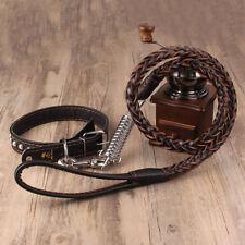 Dog Puppy Cat Pet Collar Leash PU Leather Long Lead Rope Strap Harness Belt US