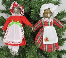 Vintage Christmas Kitty Cat & Mouse Doll Dressed Apron Bonnet Bloomers Ornament