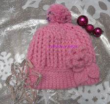 Handcrafted Crocet Ribbed Hat PInk flower pom pom Women Style Fashion A50