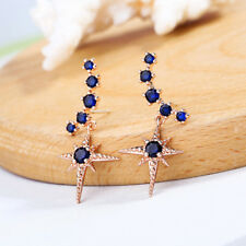 Yellow Gold Plated Star Copper Elegant Fashion Earrings Blue Ear Stud Crystal