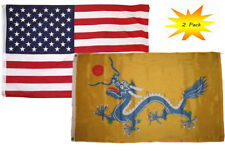 3x5 3'x5' Wholesale Set (2 Pack) USA American & China Imperial Dragon 1890 Flag