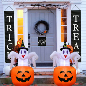 Scary Halloween Inflatable Pumpkin Ghost Blow Up Outdoor Yard Halloween Decor