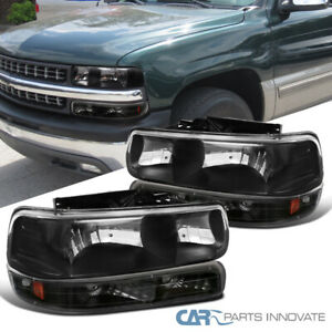 Fit 99-02 Silverado 00-06 Suburban Tahoe Black Headlights+Bumper Signal Lamps