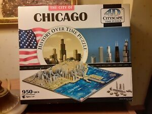 4D Cityscape Time Puzzle The City of Chicago History  950+ pcs  new open box