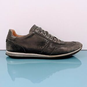 Magnanni Spain Men's Sz 8.5 Distressed Grey Black Leather Oxford Sneakers Shoes