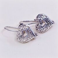 Vtg Handmade Sterling Silver Filigree Heart Dangle Earrings, Stamped 925