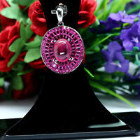 NATURAL 8 X 8 mm. CABOCHON RED RUBY & PINK CZ PENDANT 925 STERLING SILVER