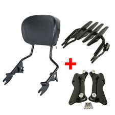 Backrest Sissy Bar Luggage Rack + Docking Fit For Harley Road Street Glide 14-19