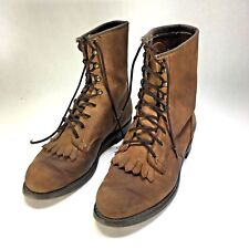 Kiltie Riding Work Boots Brown Leather Neoprene Sole Ankle Women's Size 7 LIMA