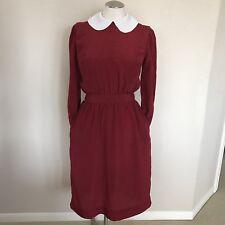 Vintage White Collar Red Dress Vtg S/M