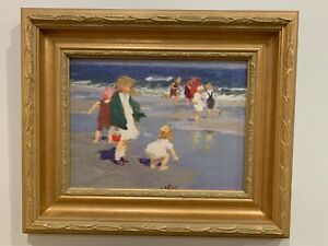 Edward Henry Potthast(1857-1927)Antique American Oil Painting Impressionism/copy