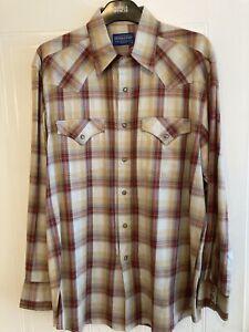 Mens Used Pendleton Long-Sleeve Cream/Red/Brown Check Shirt Medium