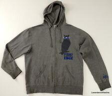 Nike Mens Street Knowledge Hoodie Sweatshirt Zip XL Gray & Blue Herringbone Owl