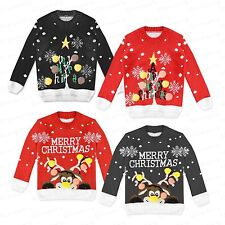 Childrens Boy Girls Novelty Christmas Tree Kids Rudolf Pom Pom Jumper Fun 2-12
