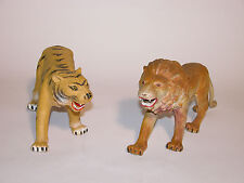 WILD ANIMALS LARGE LION AND TIGER IMPERIAL PLASTIC 1980'S EXCELLANT CONDITION