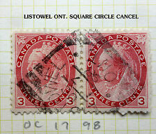 CANADA SQUARE CIRCLE CANCELS X 2  (LISTOWELL ONT.) CANADA SHIPPING $1.88 U.S.