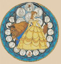 Beauty & the Beast Stained Glass Counted Cross Stitch -Complete Kit  #10-74 Kit