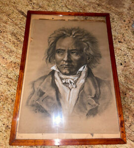 Antique Charcoal Portrait Drawing of Beethoven by Ernst Hochfeld