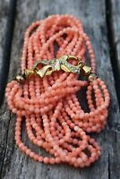 Vintage Necklace Undyed Natural Coral  31,3g Silver Clasp Gold Plated