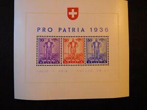 SWITZERLAND 1936 Miniature Stamp Sheet Scott B80 MNH CV105