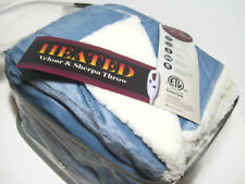 Biddeford Heated Electric Warming Velour Sherpa Reversible Blue Throw Blanket