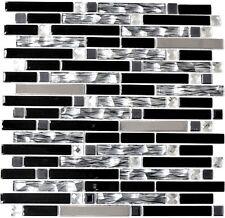 Glasmosaik Stäbchen schwarz Edelstahl Fliesenspiegel Küche BAD 67-GV478|10Matten