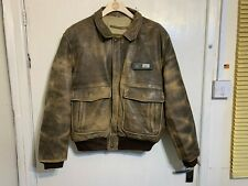 VINTAGE DISTRESSED CHEVIGNON BROWN LEATHER BOMBER JACKET SIZE XL